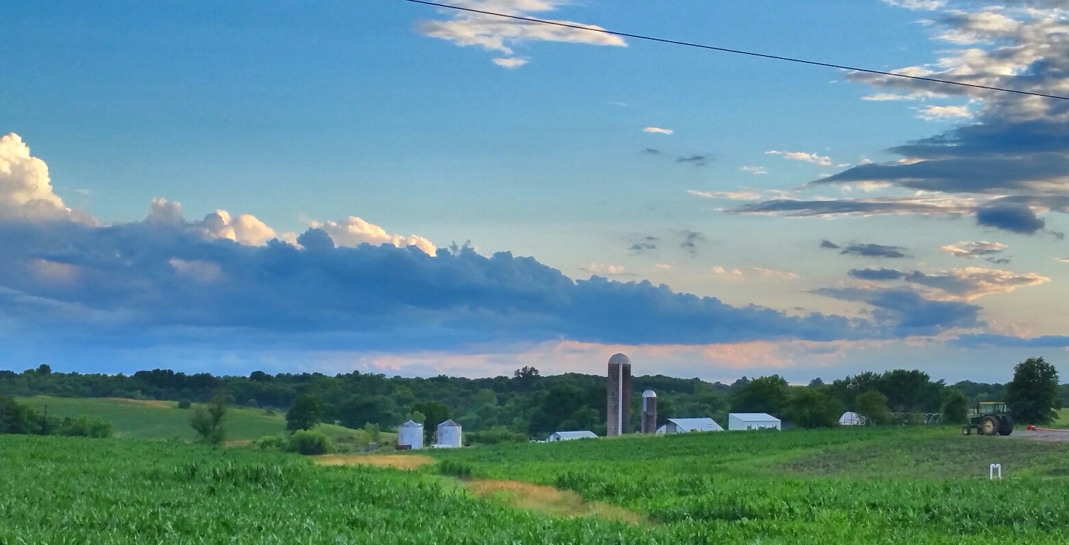A field and silos